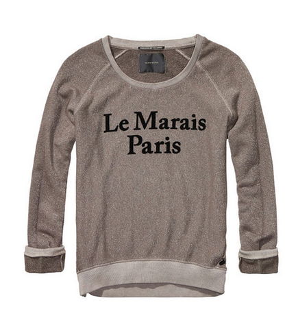 Lurex Sweat Top with Paris Artwork
