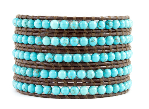 Turquoise Wrap Bracelet on Brown Leather