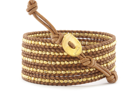 Gold Tone Wrap Bracelet On Natural Brown Leather