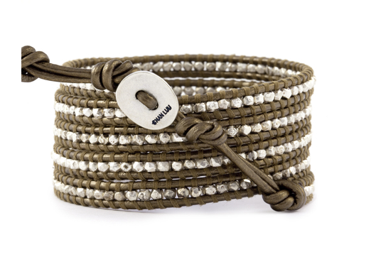 Sterling Silver Wrap Bracelet On Kansa Leather