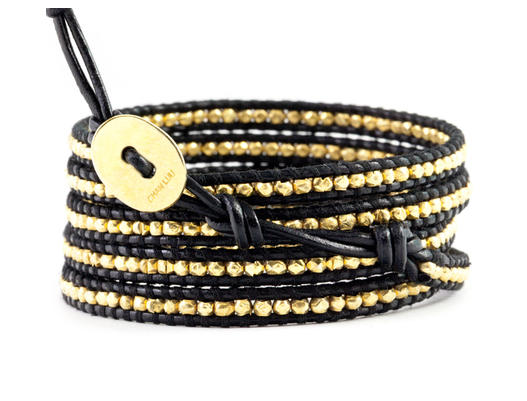 Gold Tone Wrap Bracelet On Black Leather