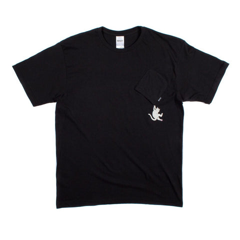 Hang In There Nermal Pocket Tee Black