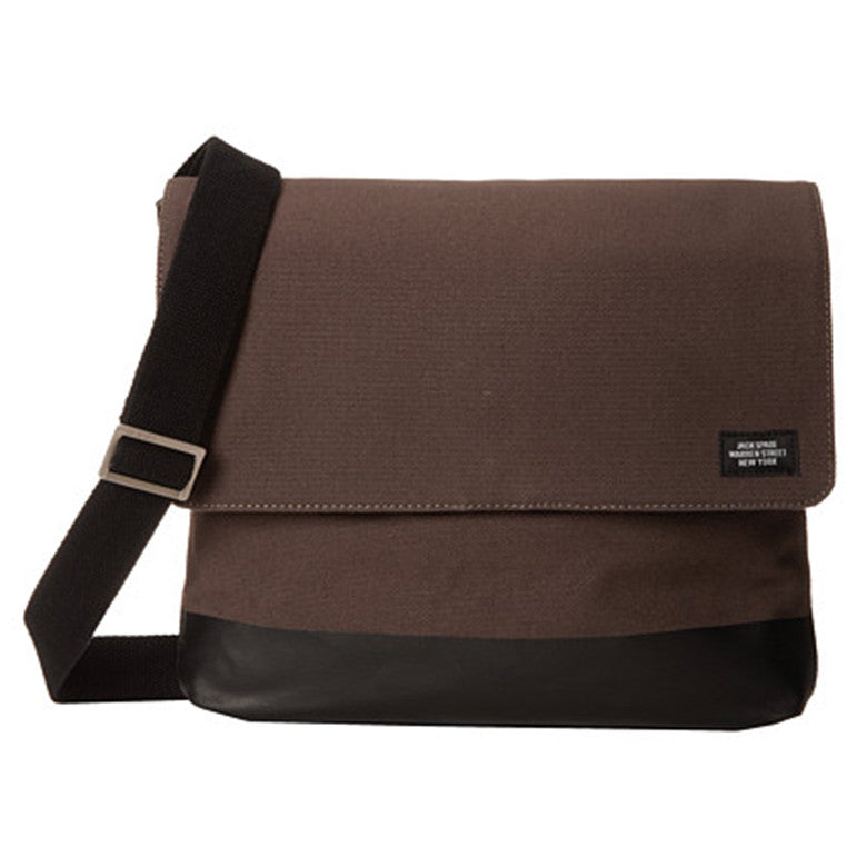 Jack Spade Canvas Messenger Bag Charcoal/ Black