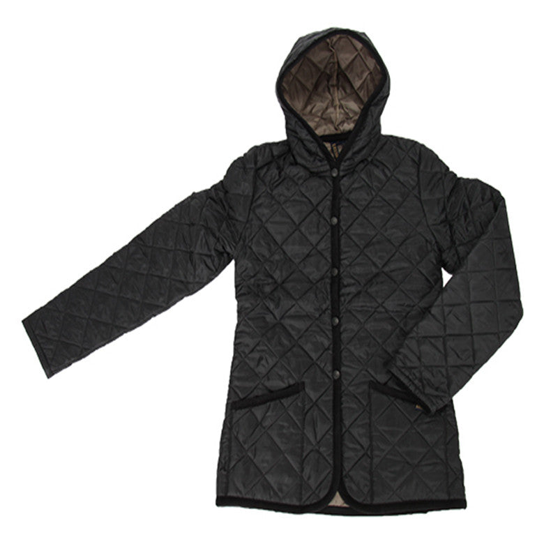 Women's Hooded Quilted Short Jacket Black