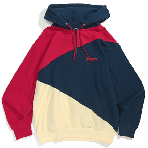 1193206	PANELED HALF ZIP HOODED SWEAT - NAVY