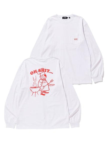 L/S POCKET TEE OH SHIT WHITE