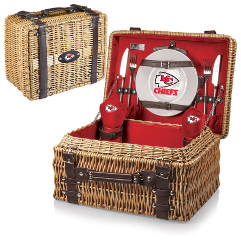 Kansas City Chiefs Picnic Basket With Service For 2