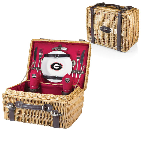 Georgia Bulldogs Picnic Basket With Service For 2