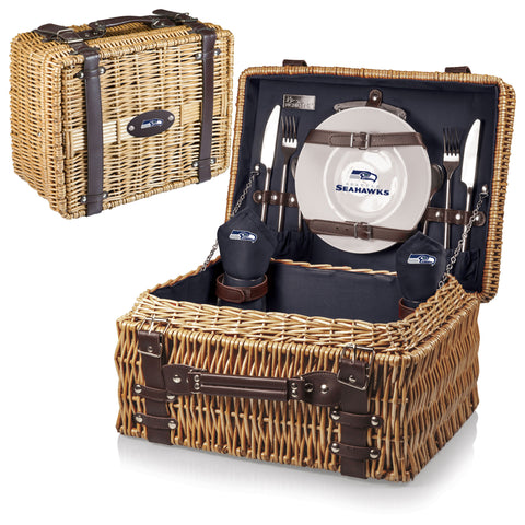 Seattle Seahawks Picnic Basket With Service For 2