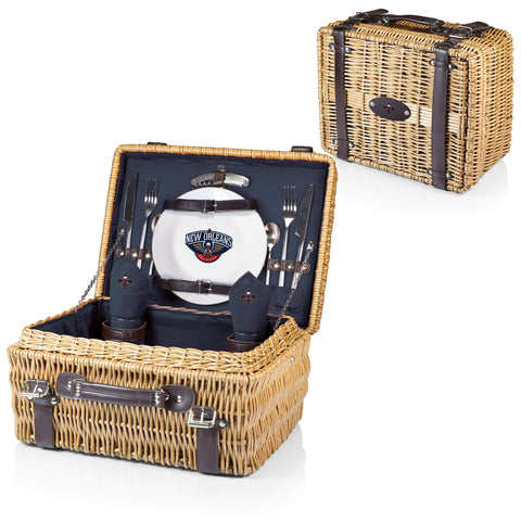 New Orleans Pelicans Picnic Basket With Service For 2