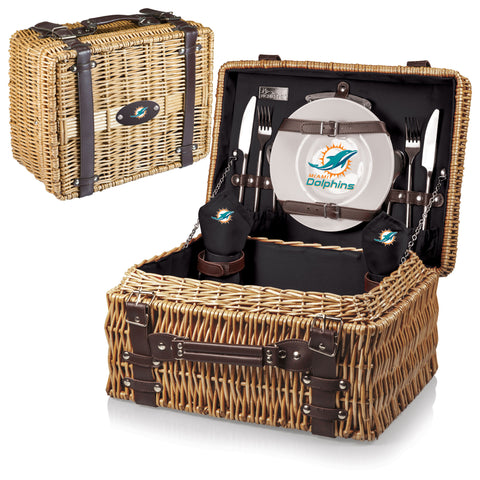 Miami Dolphins Picnic Basket With Service For 2