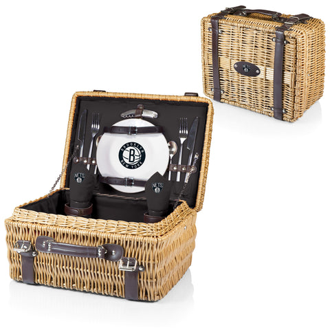 Brooklyn Nets Picnic Basket With Service For 2