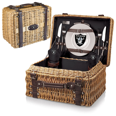 Oakland Raiders Picnic Basket With Service For 2