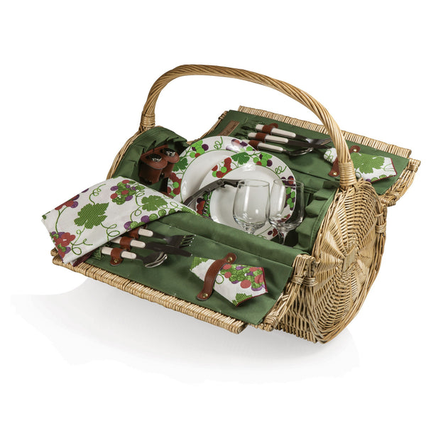 Barrel Picnic Basket With Service for 2 - Pine Green w/Nouveau Grape