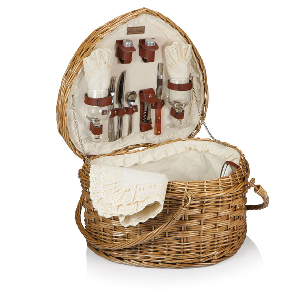 Heart Picnic Basket With Service for 2