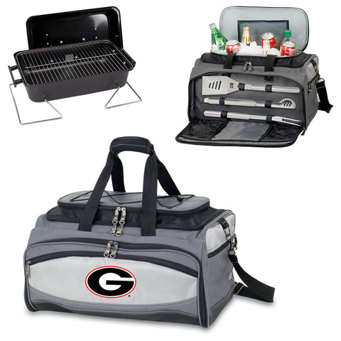 Georgia Bulldogs Tailgating BBQ Tote With Grill, Cooler, BBQ Tools -Buccaneer by Picnic Time