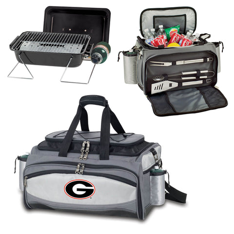 Georgia Bulldogs Tailgating BBQ Tote With Gas Grill, Cooler, BBQ Tools -Vulcan by Picnic Time