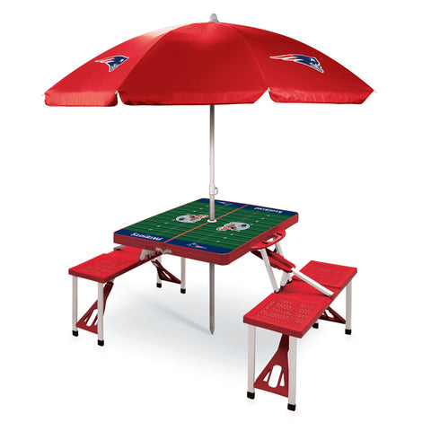 New England Patriots Picnic Table With Umbrella
