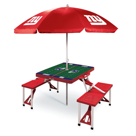 New York Giants Picnic Table With Umbrella