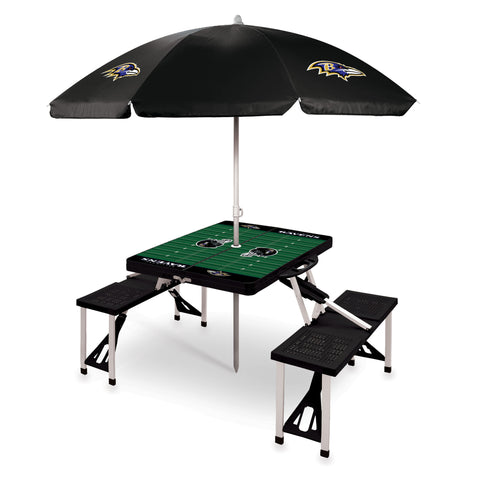 Baltimore Ravens Picnic Table With Umbrella