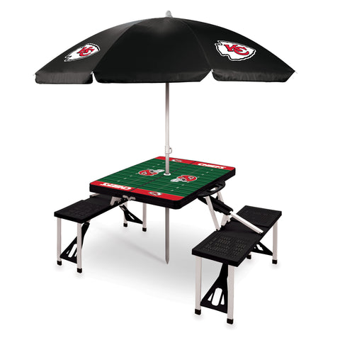 Kansas City Chiefs Picnic Table With Umbrella