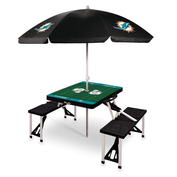 Miami Dolphins Picnic Table With Umbrella