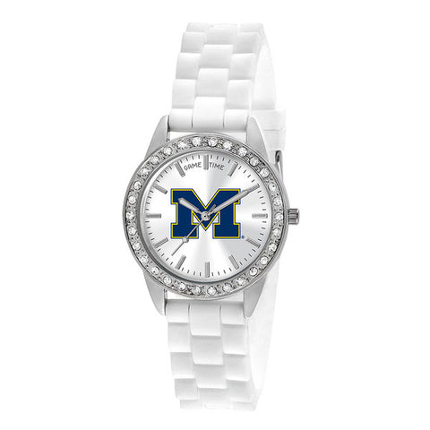 "UNIV OF MICHIGAN LADIES QUARTZ ANALOG, SILVER ROUND CASE, WHITE STRAP, 38MM ""FROST"""