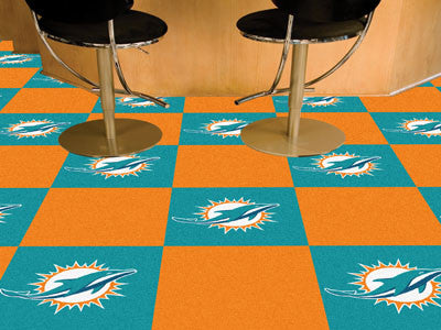"NFL - Miami Dolphins Carpet Tiles 18""x18"" tiles"