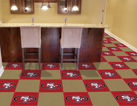 "NFL - San Francisco 49ers Carpet Tiles 18""x18"" tiles"
