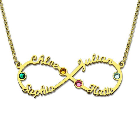 Infinity 4 Names Necklace with Birthstones Personalized Infinity Necklace