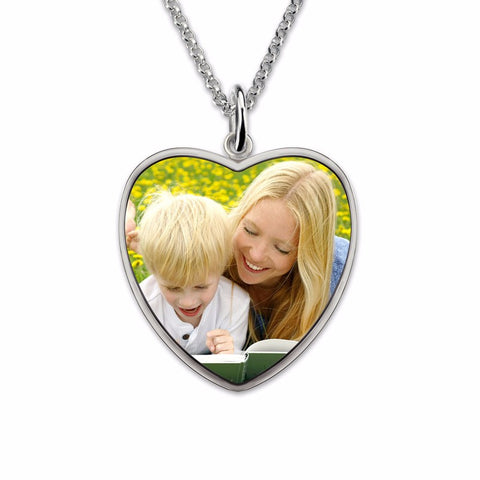 Personalized Sterling Silver Heart Engraved Color Photography Necklace
