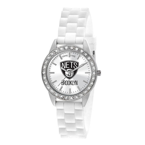 "BROOKLYN NETS LADIES QUARTZ ANALOG, SILVER ROUND CASE, WHITE STRAP, 38MM ""FROST"""