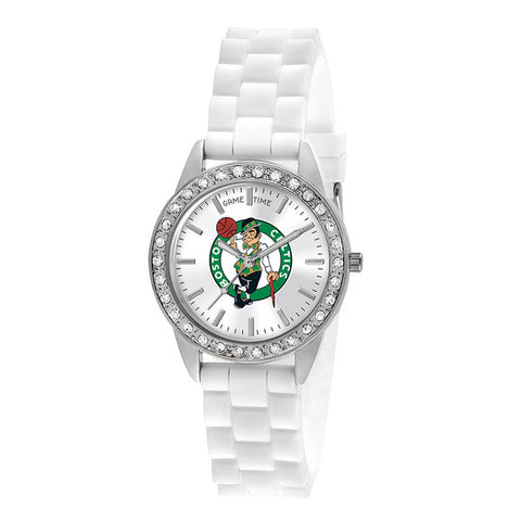 "BOSTON CELTICS LADIES QUARTZ ANALOG, SILVER ROUND CASE, WHITE STRAP, 38MM ""FROST"""
