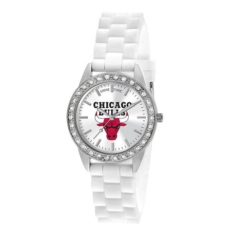 "CHICAGO BULLS LADIES QUARTZ ANALOG, SILVER ROUND CASE, WHITE STRAP, 38MM ""FROST"""