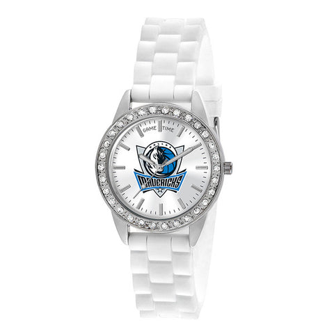 "DALLAS MAVERICKS LADIES QUARTZ ANALOG, SILVER ROUND CASE, WHITE STRAP, 38MM ""FROST"""