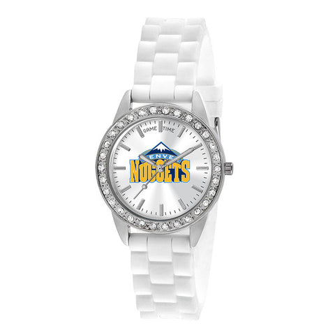 "DENVER NUGGETS LADIES QUARTZ ANALOG, SILVER ROUND CASE, WHITE STRAP, 38MM ""FROST"""