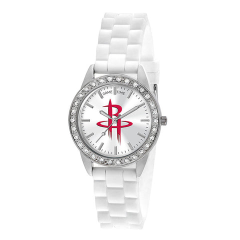 "HOUSTON ROCKETS LADIES QUARTZ ANALOG, SILVER ROUND CASE, WHITE STRAP, 38MM ""FROST"""