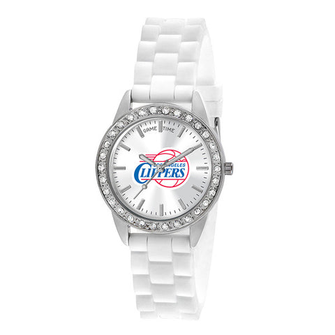 "LOS ANGELES CLIPPERS LADIES QUARTZ ANALOG, SILVER ROUND CASE, WHITE STRAP, 38MM ""FROST"""
