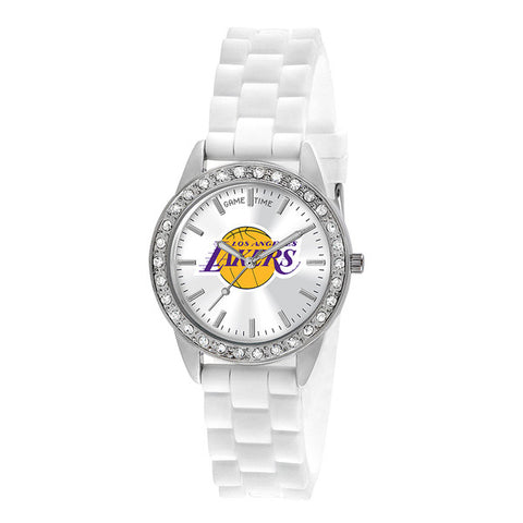 "LOS ANGELES LAKERS LADIES QUARTZ ANALOG, SILVER ROUND CASE, WHITE STRAP, 38MM ""FROST"""