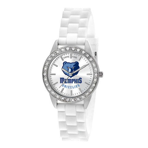 "MEMPHIS GRIZZLIES LADIES QUARTZ ANALOG, SILVER ROUND CASE, WHITE STRAP, 38MM ""FROST"""