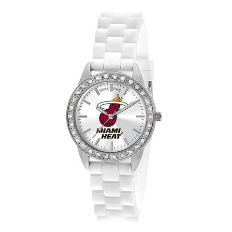 "MIAMI HEAT LADIES QUARTZ ANALOG, SILVER ROUND CASE, WHITE STRAP, 38MM ""FROST"""
