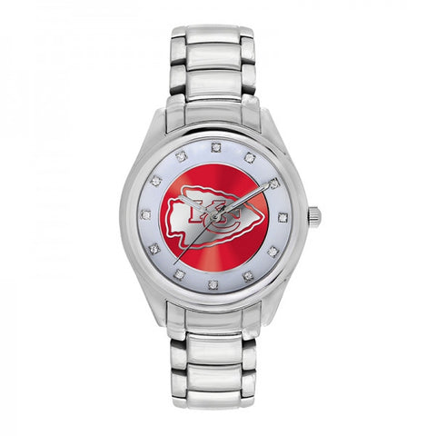 Kansas City Chiefs Ladies Watch NFL Triple Silver Stone Wildcard