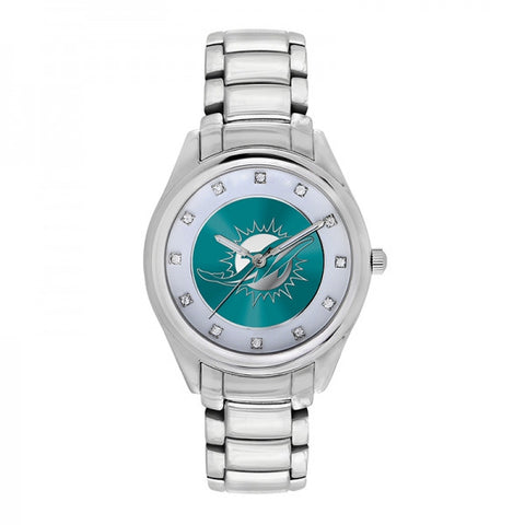 Miami Dolphins Ladies Watch NFL Triple Silver Stone Wildcard