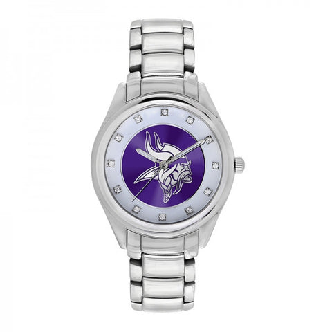 Minnesota Vikings Ladies Watch NFL Triple Silver Stone Wildcard