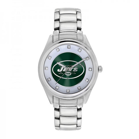 New York Jets Ladies Watch NFL Triple Silver Stone Wildcard