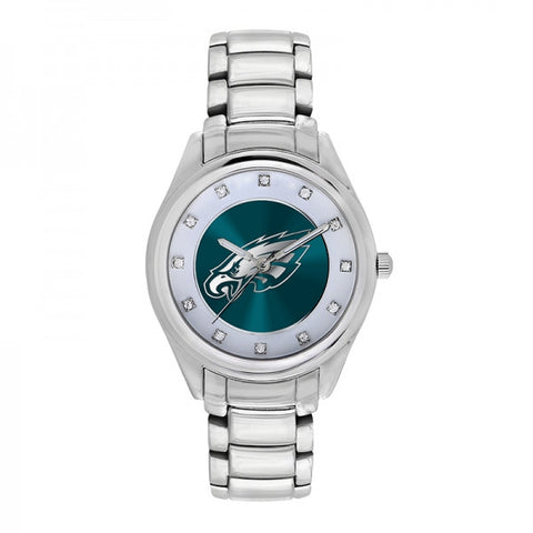 Philadelphia Eagles Ladies Watch NFL Triple Silver Stone Wildcard
