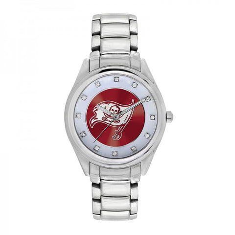 Tampa Bay Buccaneers Ladies Watch NFL Triple Silver Stone Wildcard