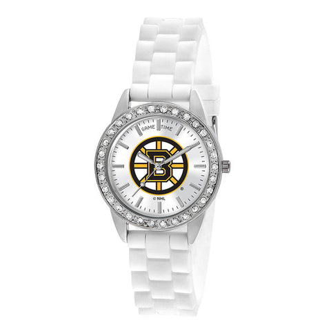 "BOSTON BRUINS LADIES QUARTZ ANALOG, SILVER ROUND CASE, WHITE STRAP, 38MM ""FROST"""