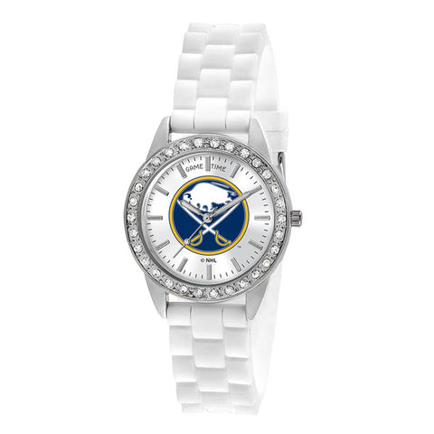 "BUFFALO SABRES LADIES QUARTZ ANALOG, SILVER ROUND CASE, WHITE STRAP, 38MM ""FROST"""