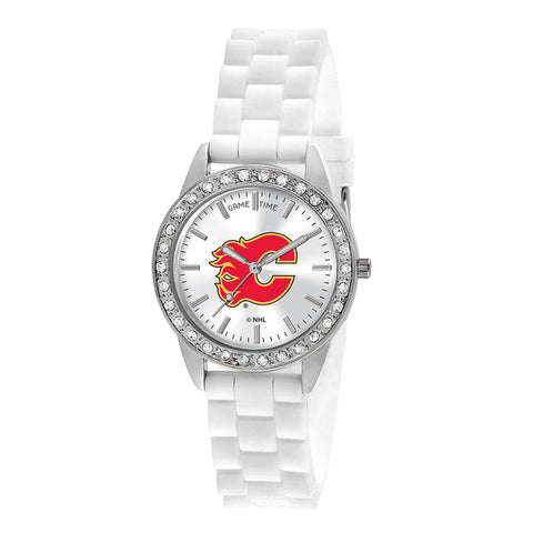 "CALGARY FLAMES LADIES QUARTZ ANALOG, SILVER ROUND CASE, WHITE STRAP, 38MM ""FROST"""